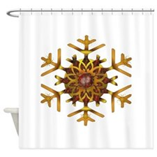 Bronze and Gold Snowflake Shower Curtain