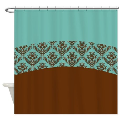 Turquoise Brown Shower Curtain