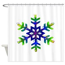 Blue and Green Bubble Snowflake Shower Curtain