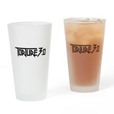 torture 3.0 black white outline Drinking Glass