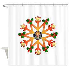 Cheerful Orange and Green Snowflake Shower Curtain