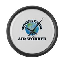 World's Sexiest Aid Worker Large Wall Clock