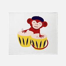 Drummer Monkey Throw Blanket