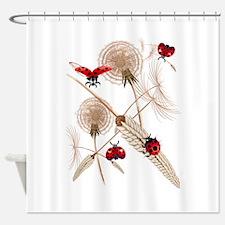 Dandelions vs Ladybugs Shower Curtain