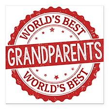 "World's Best Grandparent Square Car Magnet 3"" x 3"""