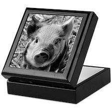 Sweet Piglet,black white Keepsake Box
