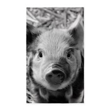 Sweet Piglet,black white 3'x5' Area Rug