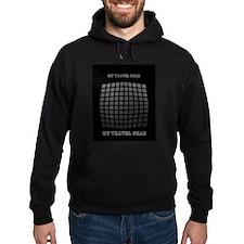 Grey Black Techno 3d Geometric Pattern Hoodie