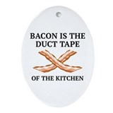 Bacon duct tape Oval Ornaments