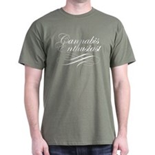 Cannabis Enthusiast Military Green T-Shirt