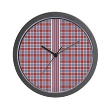 Country Plaid with Stripe Wall Clock