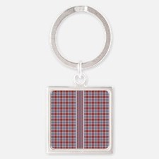 Country Plaid with Stripe Square Keychain