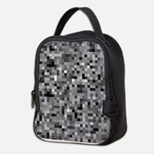 Black Pixel Mosaic Neoprene Lunch Bag