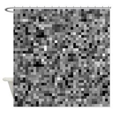 Black Pixel Mosaic Shower Curtain