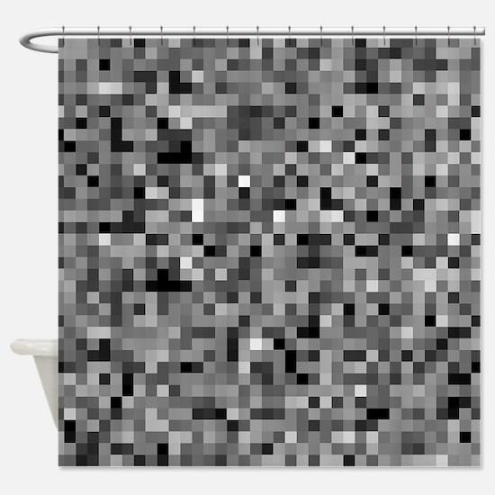 Black Pixel Mosaic Shower Curtain
