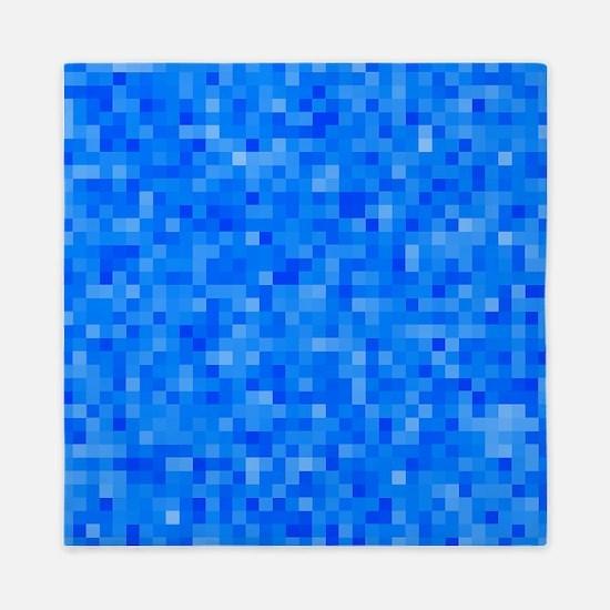 Blue Pixel Mosaic Queen Duvet