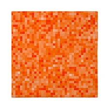 Orange Pixel Mosaic Queen Duvet