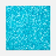 Turquoise Pixel Mosaic Queen Duvet