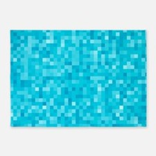 Turquoise Pixel Mosaic 5'x7'Area Rug