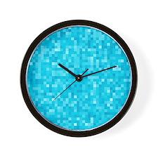 Turquoise Pixel Mosaic Wall Clock