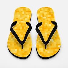 Yellow Pixel Mosaic Flip Flops