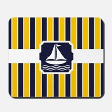 Nautical Sailboat Stripes Mousepad