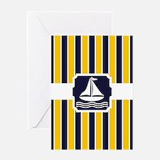 Nautical Sailboat Stripes Greeting Card