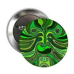 Green Man Motif Button