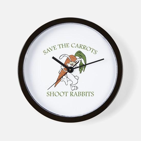 Save The Carrots Shoot Rabbits Wall Clock