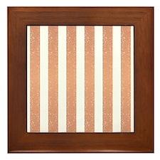 OrangeGlittery Stripes Framed Tile