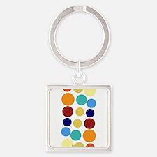 Bright Polka Dots Square Keychain
