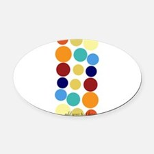 Bright Polka Dots Oval Car Magnet
