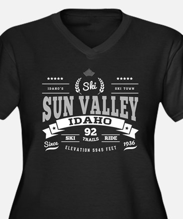 Sun Valley V Women's Plus Size V-Neck Dark T-Shirt