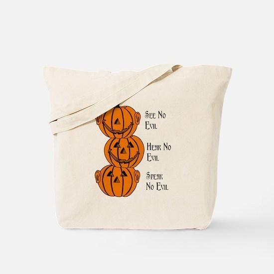 See, Hear, Speak No Evil Pumpkins Tote Bag