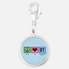 OT Blue Silver Round Charm