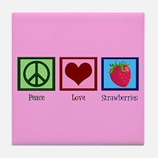 Funny I heart strawberries Tile Coaster