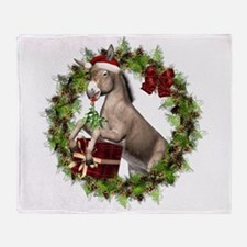 Christmas Donkey In Wreath Throw Blanket