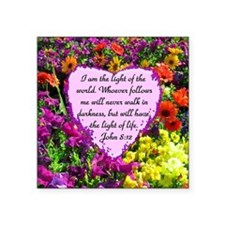 "JOHN 8:12 Square Sticker 3"" x 3"""