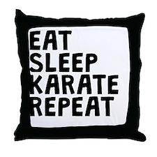 Eat Sleep Karate Repeat Throw Pillow