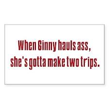 Ginny's hauls ass Rectangle Decal