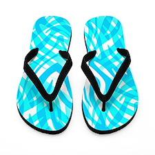 Blue Zebra Abstract Flip Flops
