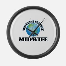 World's Sexiest Midwife Large Wall Clock