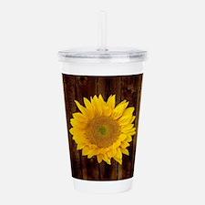 Yellow Sunflower Brown Acrylic Double-wall Tumbler
