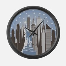 Nyc Snowflakes Large Wall Clock