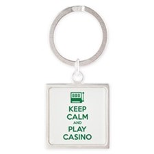 Keep Calm And Play Casino Square Keychain