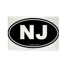 New Jersey NJ Euro Oval Rectangle Magnet (10 pack)