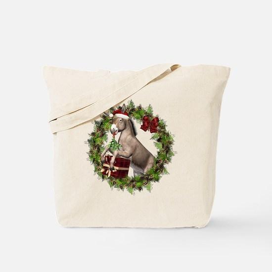 Christmas Donkey Wreath Tote Bag