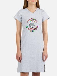 Peace Love Elephants Women's Nightshirt