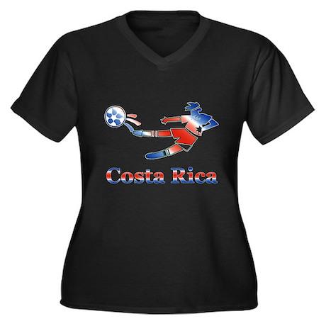 Costa Rica Soccer Player Women's Plus Size V-Neck