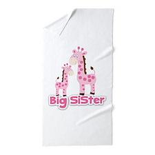 Big Sister Pink Giraffes Beach Towel